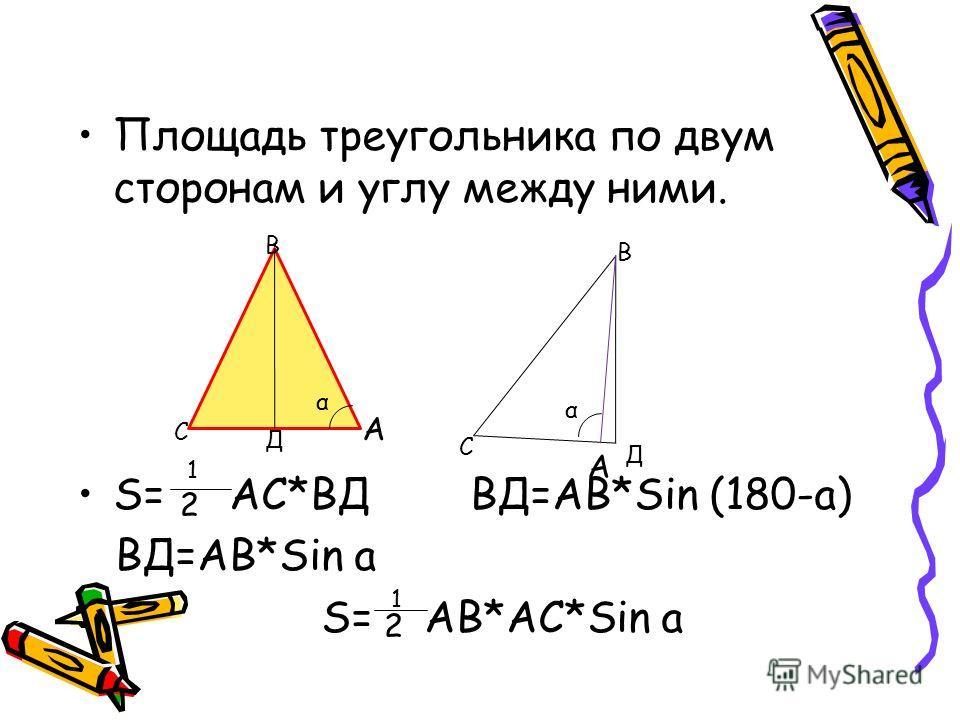 Площадь треугольника по двум сторонам и углу между ними. S= АС*ВД ВД=АВ*Sin (180-a) ВД=АВ*Sin a S= АВ*АС*Sin a А А С С В В Д Д α α 1 2 1 2