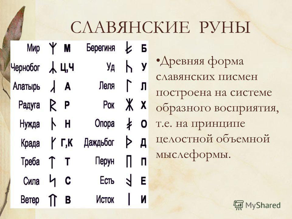СЛАВЯНСКИЕ РУНЫ Древняя форма славянских писмен построена на системе образного восприятия, т.е. на принципе целостной объемной мыслеформы.