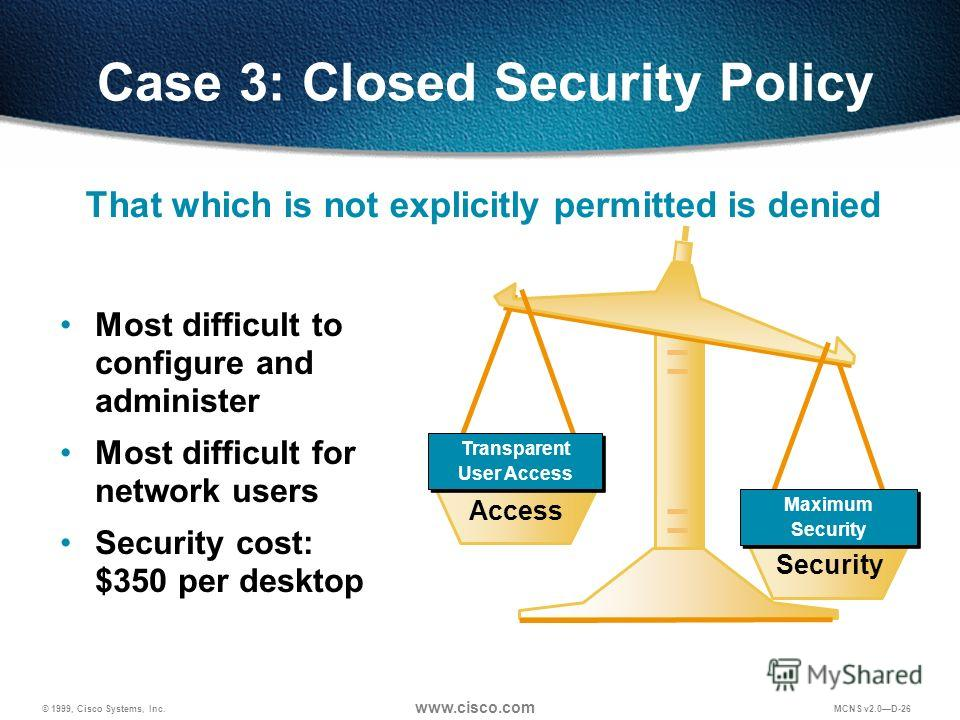 © 1999, Cisco Systems, Inc. www.cisco.com MCNS v2.0D-26 Case 3: Closed Security Policy Most difficult to configure and administer Most difficult for network users Security cost: $350 per desktop Access Security Maximum Security Maximum Security Trans