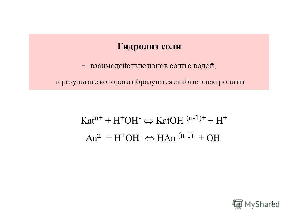 4 Гидролиз соли - взаимодействие ионов соли с водой, в результате которого образуются слабые электролиты Kat n+ + H + OH - KatOH (n-1)+ + H + An n- + H + OH - HAn (n-1)- + OH -
