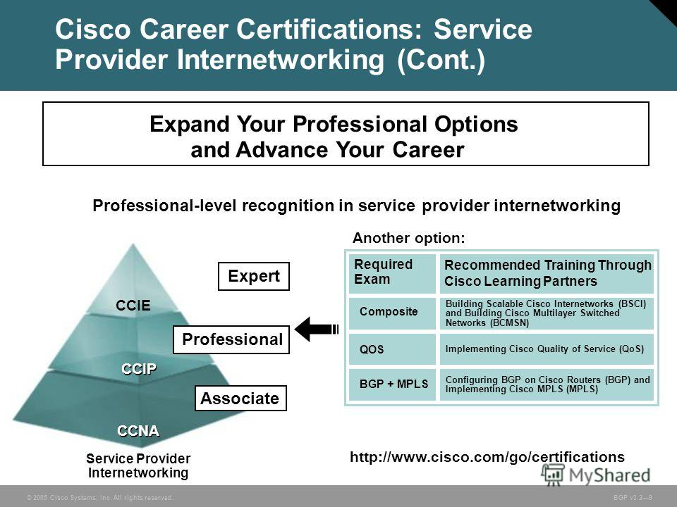 © 2005 Cisco Systems, Inc. All rights reserved. BGP v3.29 Expand Your Professional Options and Advance Your Career Professional CCIE CCIP CCNA Associate Professional-level recognition in service provider internetworking http://www.cisco.com/go/certif