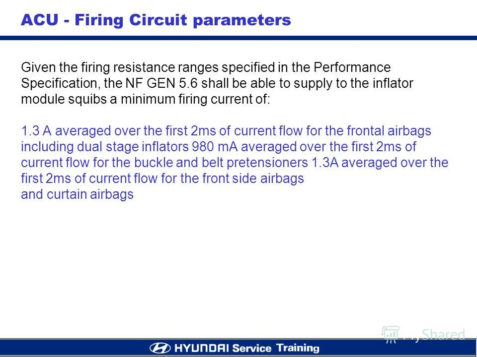 ACU - Firing Circuit parameters Given the firing resistance ranges specified in the Performance Specification, the NF GEN 5.6 shall be able to supply to the inflator module squibs a minimum firing current of: 1.3 A averaged over the first 2ms of curr