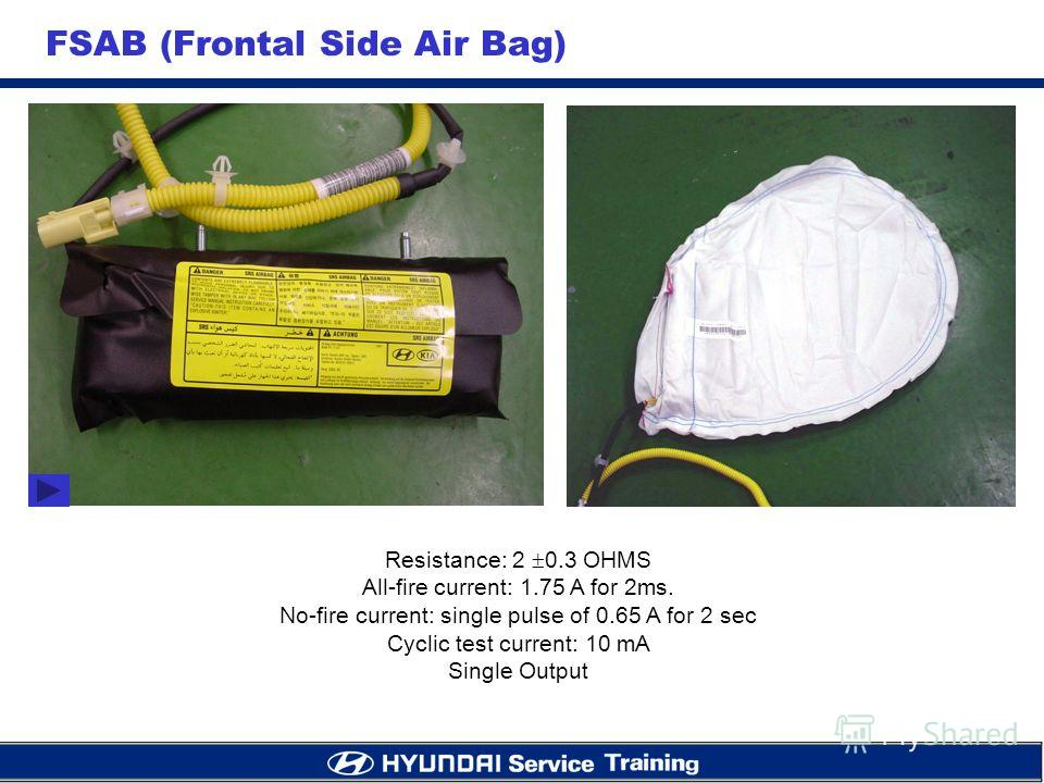 FSAB (Frontal Side Air Bag) Resistance: 2 0.3 OHMS All-fire current: 1.75 A for 2ms. No-fire current: single pulse of 0.65 A for 2 sec Cyclic test current: 10 mA Single Output