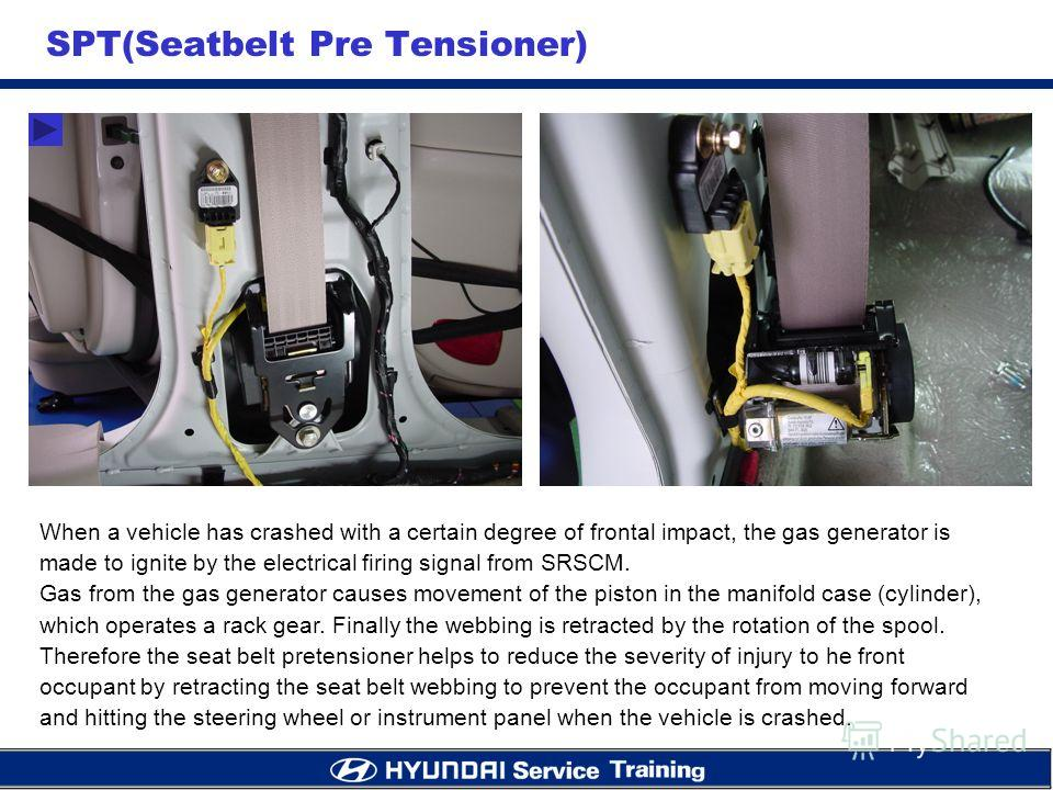 SPT(Seatbelt Pre Tensioner) When a vehicle has crashed with a certain degree of frontal impact, the gas generator is made to ignite by the electrical firing signal from SRSCM. Gas from the gas generator causes movement of the piston in the manifold c