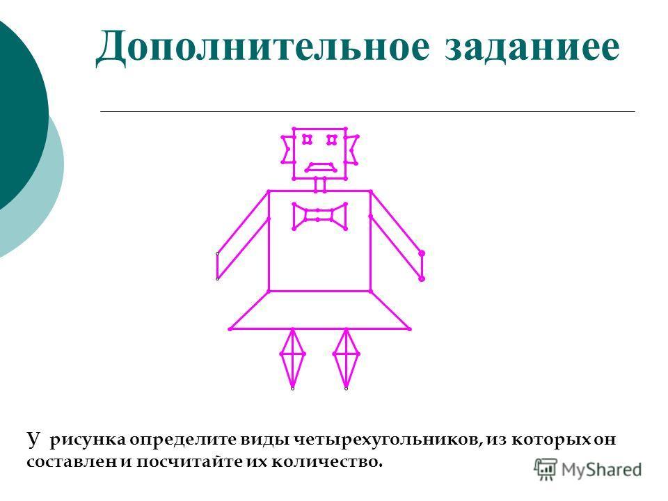 Дополнительное задание У рисунка определите виды четырехугольников, из которых он составлен и посчитайте их количество.