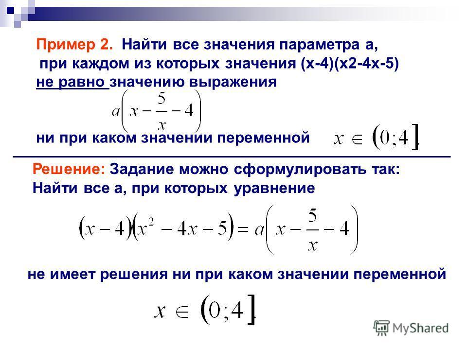 Пример 2. Найти все значения параметра a, при каждом из которых значения (x-4)(x2-4x-5) не равно значению выражения ни при каком значении переменной Решение: Задание можно сформулировать так: Найти все а, при которых уравнение не имеет решения ни при