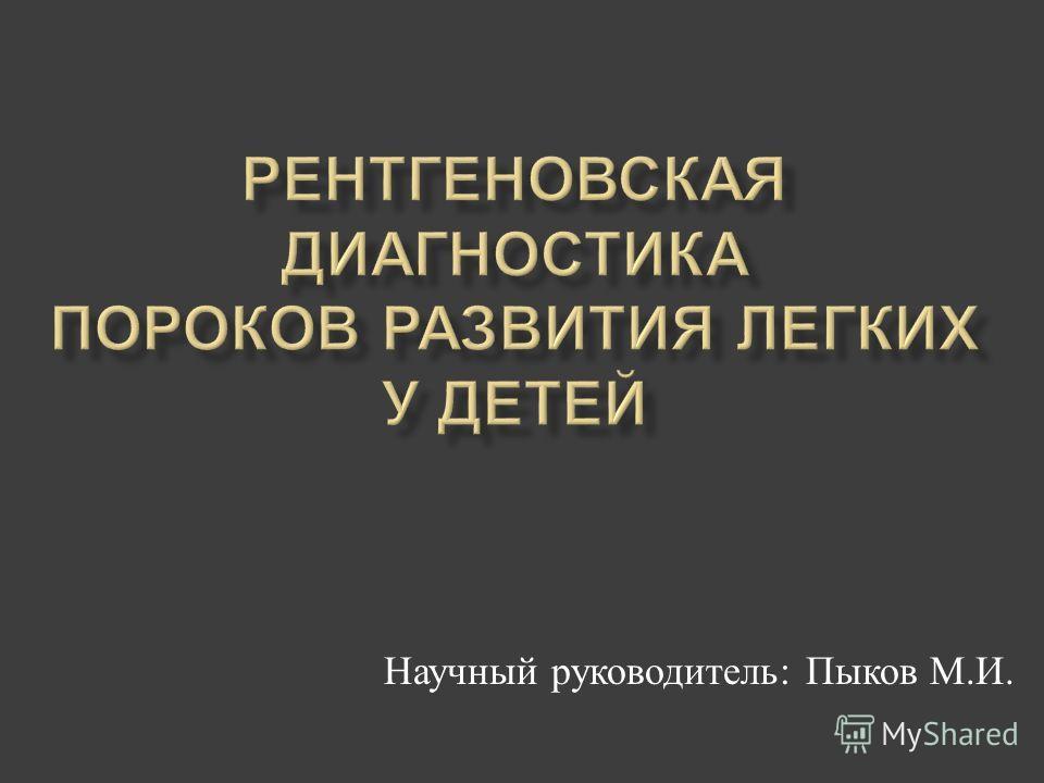 Научный руководитель : Пыков М. И.