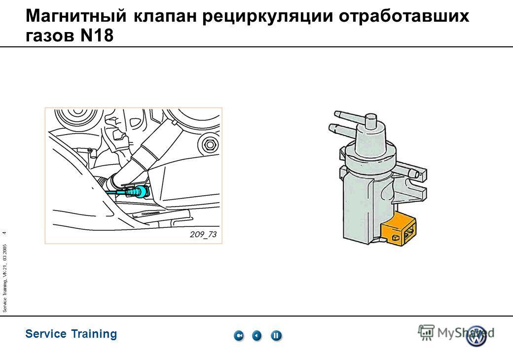 Service Training 4 Service Training, VK-21, 03.2005 Магнитный клапан рециркуляции отработавших газов N18