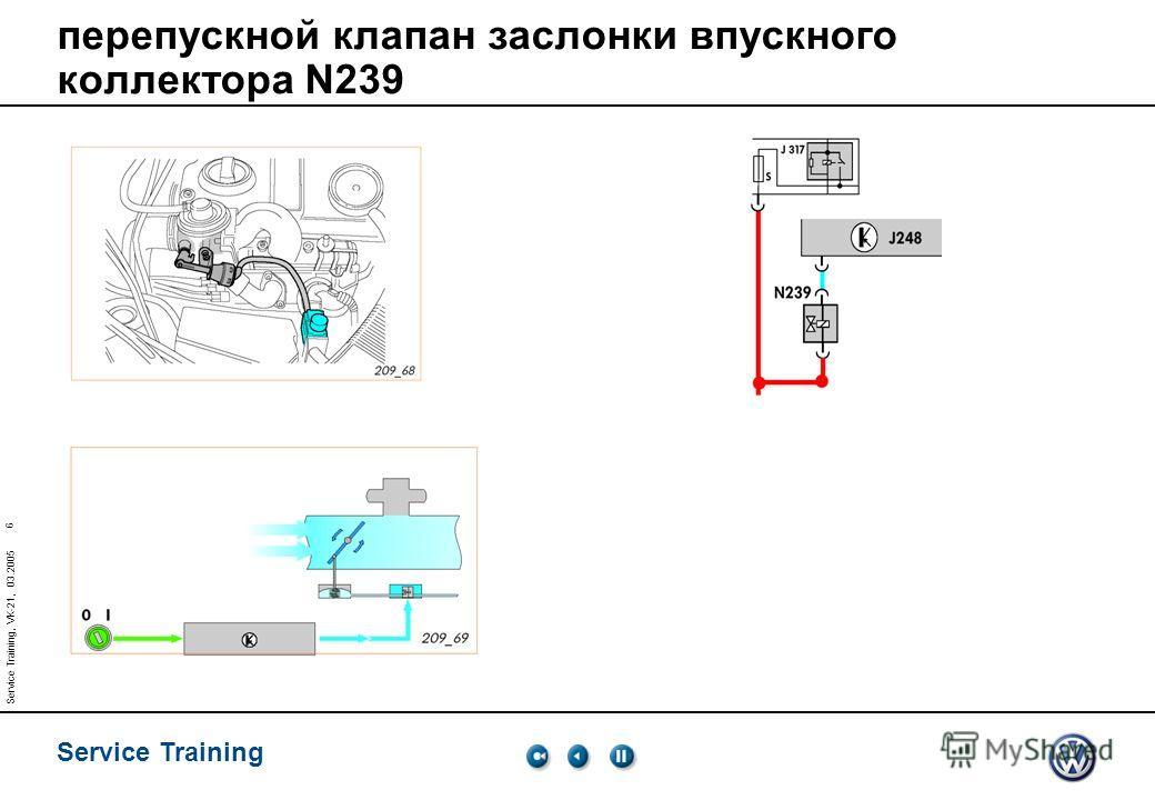 Service Training 6 Service Training, VK-21, 03.2005 перепускной клапан заслонки впускного коллектора N239