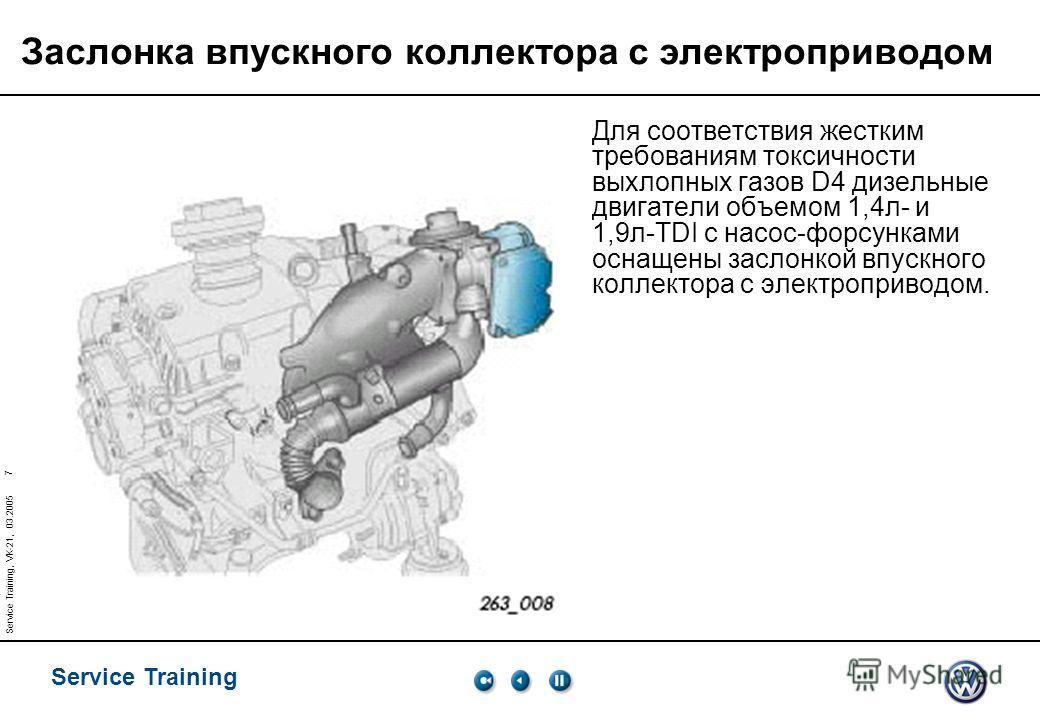 Service Training 7 Service Training, VK-21, 03.2005 Заслонка впускного коллектора с электроприводом Для соответствия жестким требованиям токсичности выхлопных газов D4 дизельные двигатели объемом 1,4 л- и 1,9 л-TDI с насос-форсунками оснащены заслонк