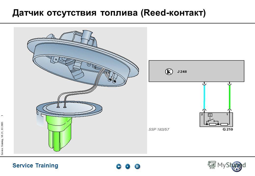 Service Training 1 Service Training, VK-21, 03.2005 Датчик отсутствия топлива (Reed-контакт)