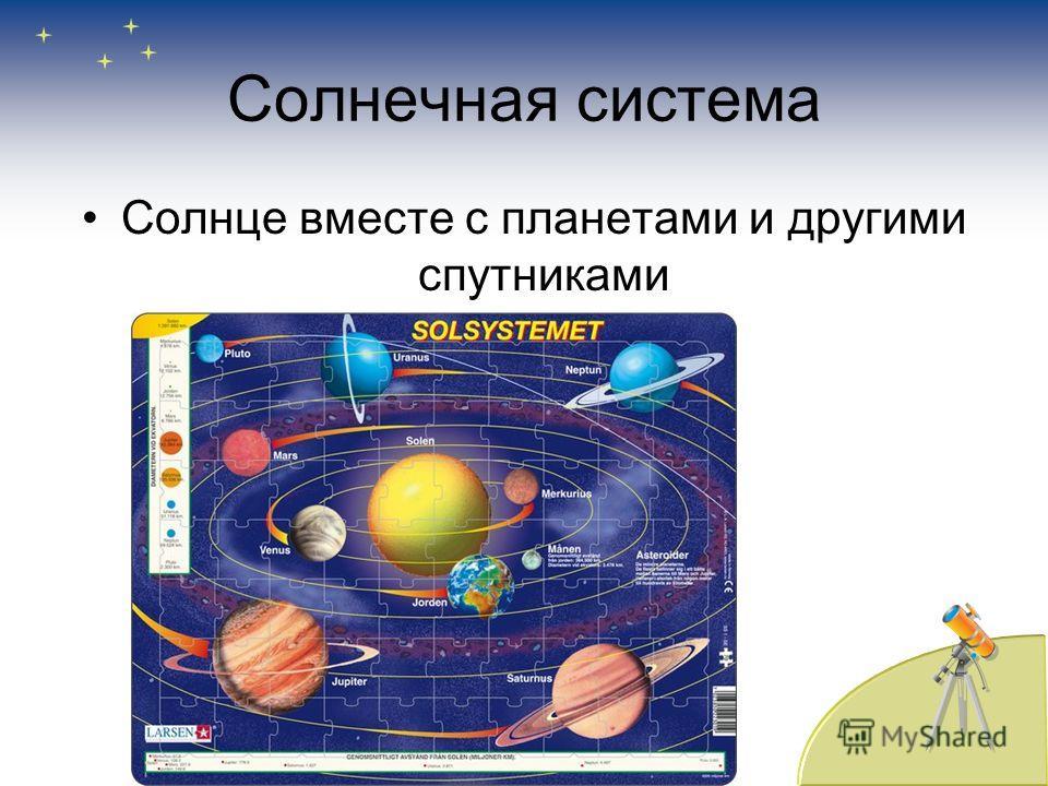 Солнечная система Солнце вместе с планетами и другими спутниками
