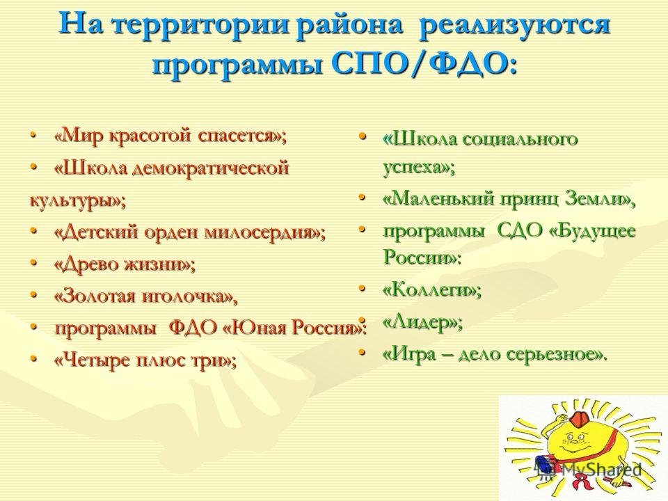 На территории района реализуются программы СПО/ФДО: « Школа социального успеха»;« Школа социального успеха»; «Маленький принц Земли»,«Маленький принц Земли», программы СДО «Будущее России»:программы СДО «Будущее России»: «Коллеги»;«Коллеги»; «Лидер»;
