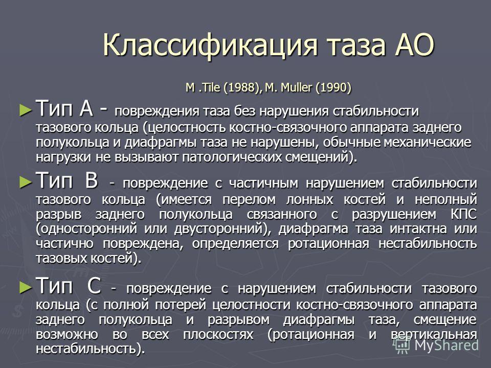 Классификация таза АО M.Tile (1988), M. Muller (1990) Тип А - повреждения таза без нарушения стабильности тазового кольца (целостность костно-связочного аппарата заднего полукольца и диафрагмы таза не нарушены, обычные механические нагрузки не вызыва