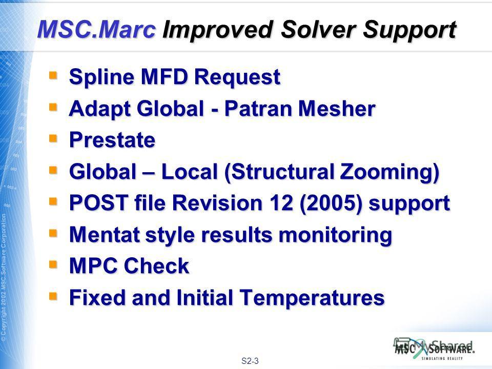 S2-3 Spline MFD Request Spline MFD Request Adapt Global - Patran Mesher Adapt Global - Patran Mesher Prestate Prestate Global – Local (Structural Zooming) Global – Local (Structural Zooming) POST file Revision 12 (2005) support POST file Revision 12