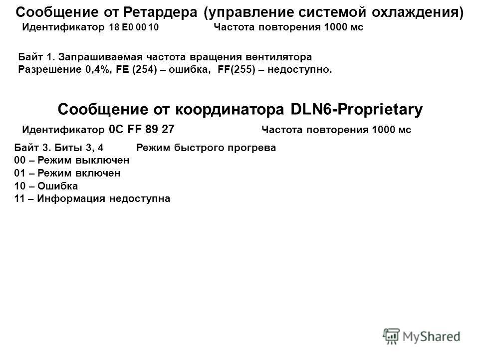 Сообщение от Ретардера (управление системой охлаждения) Идентификатор 18 Е0 00 10 Частота повторения 1000 мс Байт 1. Запрашиваемая частота вращения вентилятора Разрешение 0,4%, FE (254) – ошибка, FF(255) – недоступно. Сообщение от координатора DLN6-P