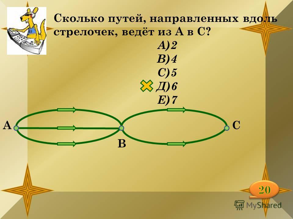 Сколько путей, направленных вдоль стрелочек, ведёт из А в С? А)2 В)4 С)5 Д)6 Е)7 А В С