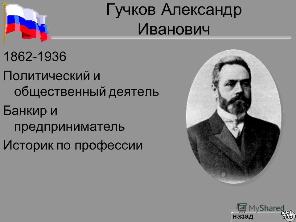 Гучков Александр Иванович 1862-1936 Политический и общественный деятель Банкир и предприниматель Историк по профессии назад