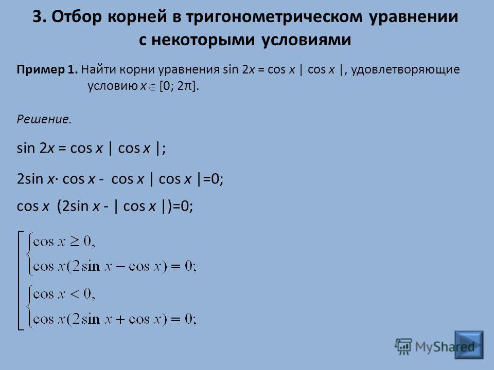 3. Отбор корней в тригонометрическом уравнении с некоторыми условиями Пример 1. Найти корни уравнения sin 2x = cos x | cos x |, удовлетворяющие условию x [0; 2π]. cos x (2sin x - | cos x |)=0; Решение. sin 2x = cos x | cos x |; 2sin x· cos x - cos x