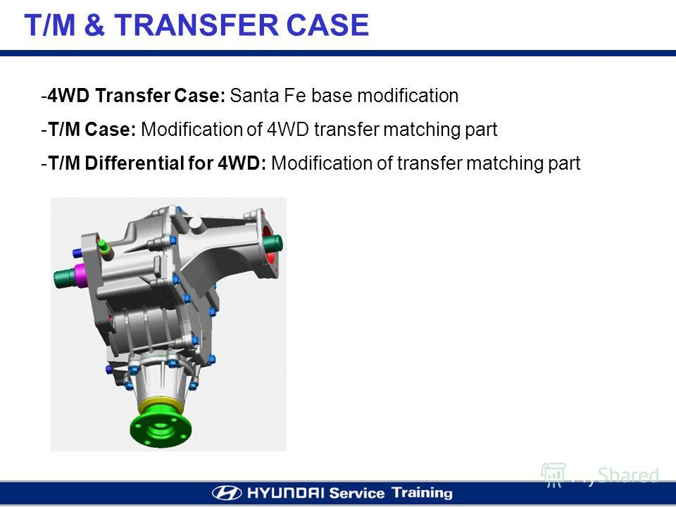 T/M & TRANSFER CASE -4WD Transfer Case: Santa Fe base modification -T/M Case: Modification of 4WD transfer matching part -T/M Differential for 4WD: Modification of transfer matching part