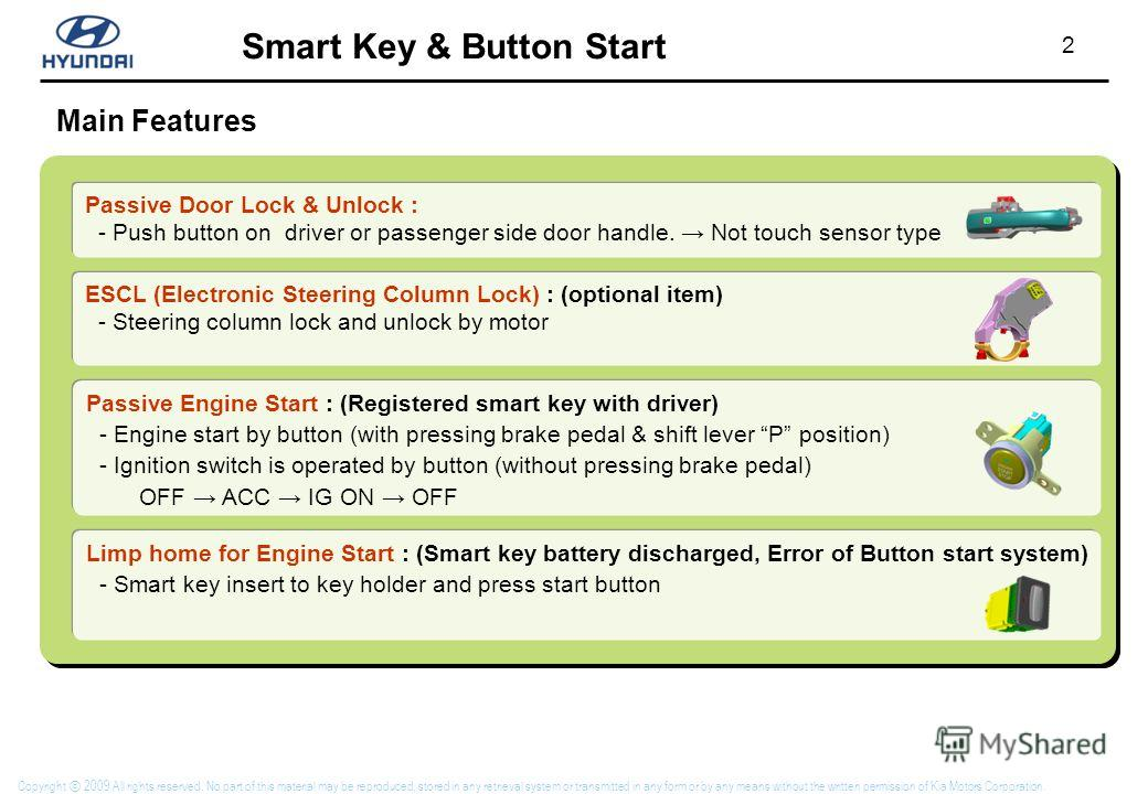 2 Smart Key & Button Start Copyright 2009 All rights reserved. No part of this material may be reproduced, stored in any retrieval system or transmitted in any form or by any means without the written permission of Kia Motors Corporation. Main Featur
