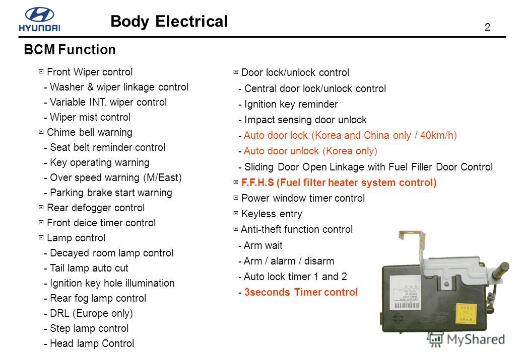 2 Body Electrical Front Wiper control - Washer & wiper linkage control - Variable INT. wiper control - Wiper mist control Chime bell warning - Seat belt reminder control - Key operating warning - Over speed warning (M/East) - Parking brake start warn
