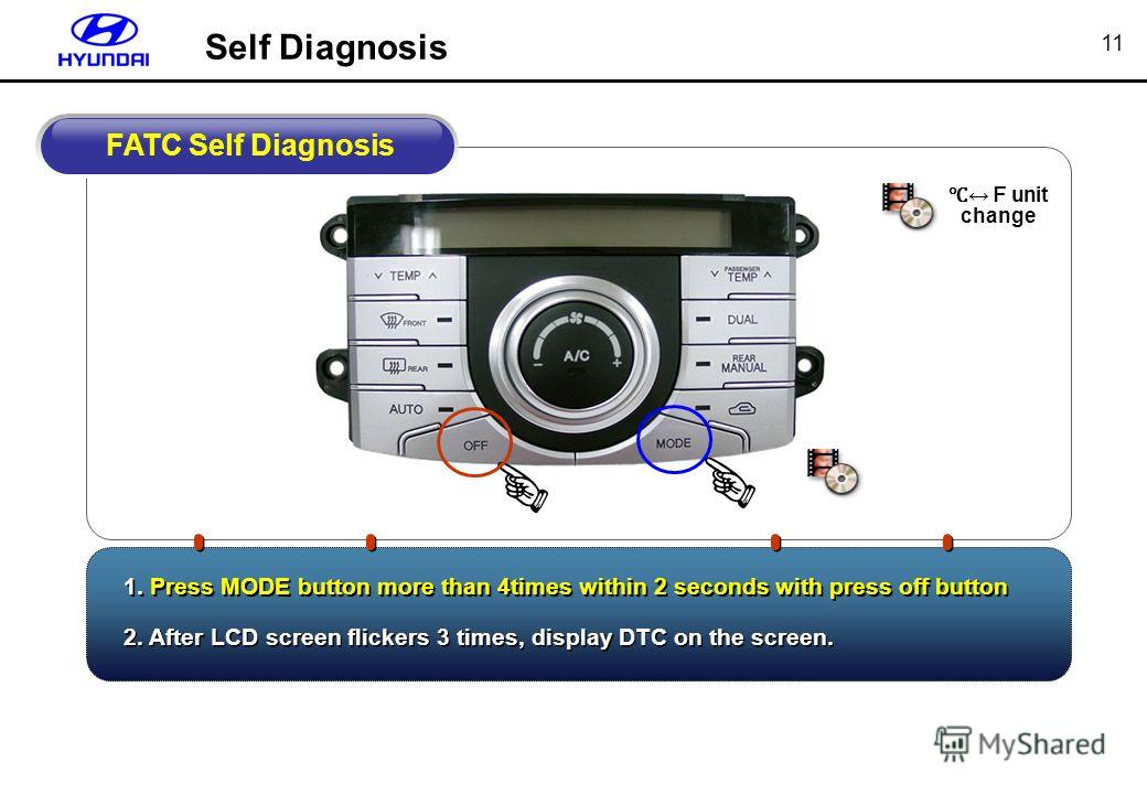 11 unit change 1. Press MODE button more than 4times within 2 seconds with press off button FATC Self Diagnosis 2. After LCD screen flickers 3 times, display DTC on the screen. Self Diagnosis