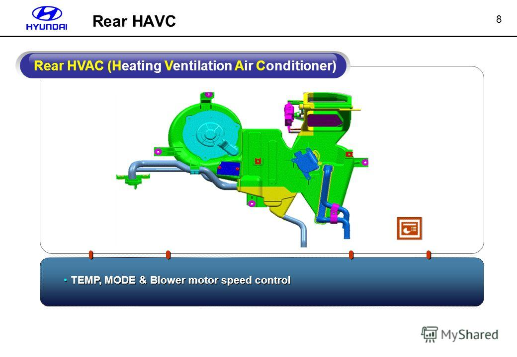 8 TEMP, MODE & Blower motor speed control Rear HVAC (Heating Ventilation Air Conditioner) Rear HAVC