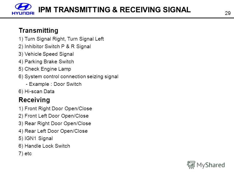 29 IPM TRANSMITTING & RECEIVING SIGNAL Transmitting 1) Turn Signal Right, Turn Signal Left 2) Inhibitor Switch P & R Signal 3) Vehicle Speed Signal 4) Parking Brake Switch 5) Check Engine Lamp 6) System control connection seizing signal - Example : D