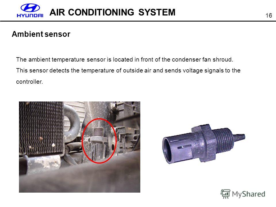 16 AIR CONDITIONING SYSTEM Ambient sensor The ambient temperature sensor is located in front of the condenser fan shroud. This sensor detects the temperature of outside air and sends voltage signals to the controller.