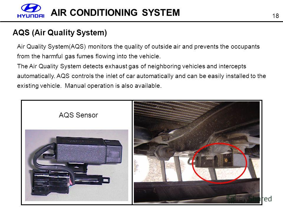 18 AIR CONDITIONING SYSTEM AQS (Air Quality System) Air Quality System(AQS) monitors the quality of outside air and prevents the occupants from the harmful gas fumes flowing into the vehicle. The Air Quality System detects exhaust gas of neighboring