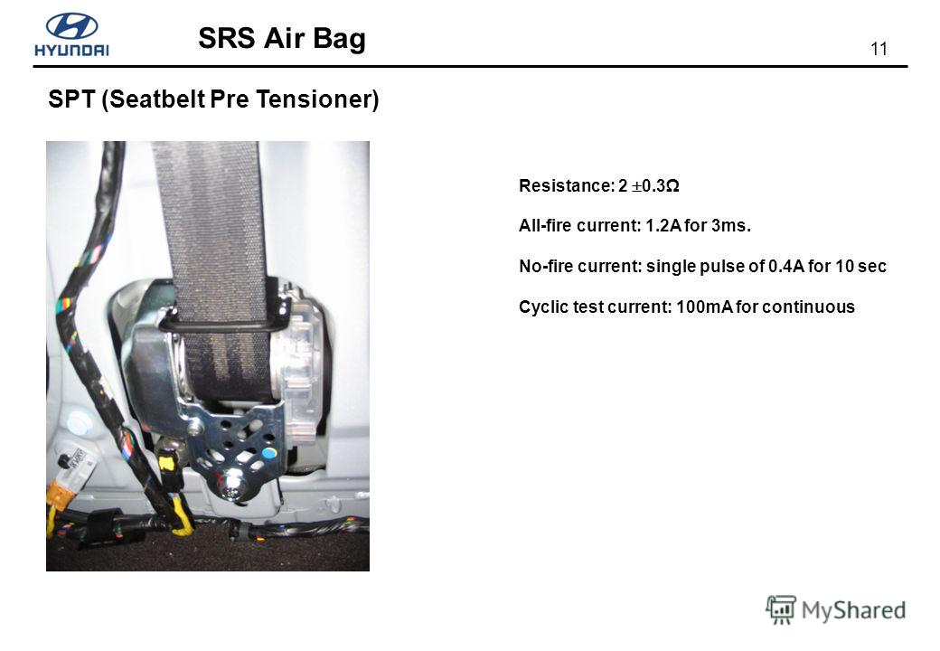 11 SRS Air Bag SPT (Seatbelt Pre Tensioner) Resistance: 2 0.3 All-fire current: 1.2A for 3ms. No-fire current: single pulse of 0.4A for 10 sec Cyclic test current: 100mA for continuous