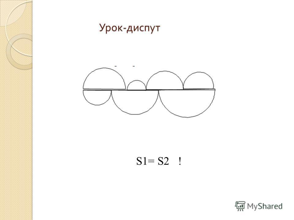 Урок - диспут S1= S2 !