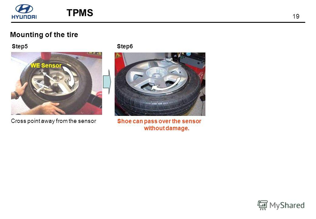 19 TPMS Mounting of the tire Step5Step6 Cross point away from the sensor WE Sensor Shoe can pass over the sensor without damage.