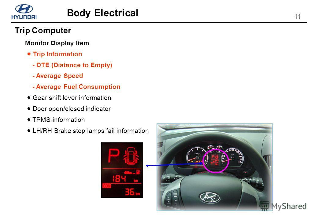 11 Body Electrical Trip Computer Monitor Display Item Trip Information - DTE (Distance to Empty) - Average Speed - Average Fuel Consumption Gear shift lever information Door open/closed indicator TPMS information LH/RH Brake stop lamps fail informati