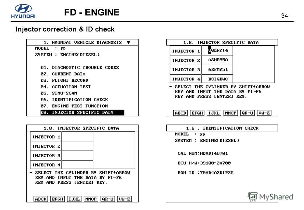 34 FD - ENGINE Injector correction & ID check