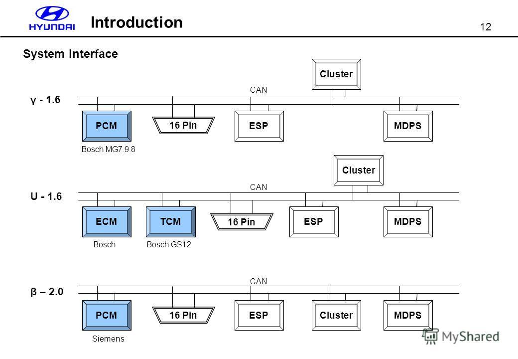 12 Introduction System Interface γ - 1.6 U - 1.6 PCM β – 2.0 Bosch MG7.9.8 ESPMDPS ECM Bosch TCMMDPSESP Bosch GS12 PCM Siemens ESPMDPS CAN Cluster 16 Pin
