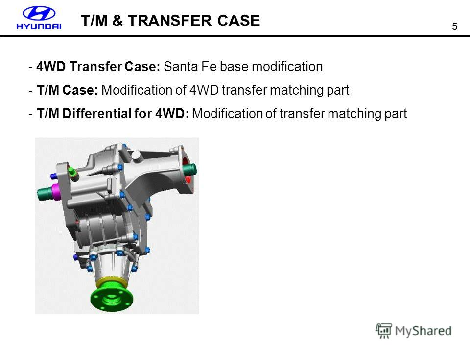 5 T/M & TRANSFER CASE - 4WD Transfer Case: Santa Fe base modification - T/M Case: Modification of 4WD transfer matching part - T/M Differential for 4WD: Modification of transfer matching part