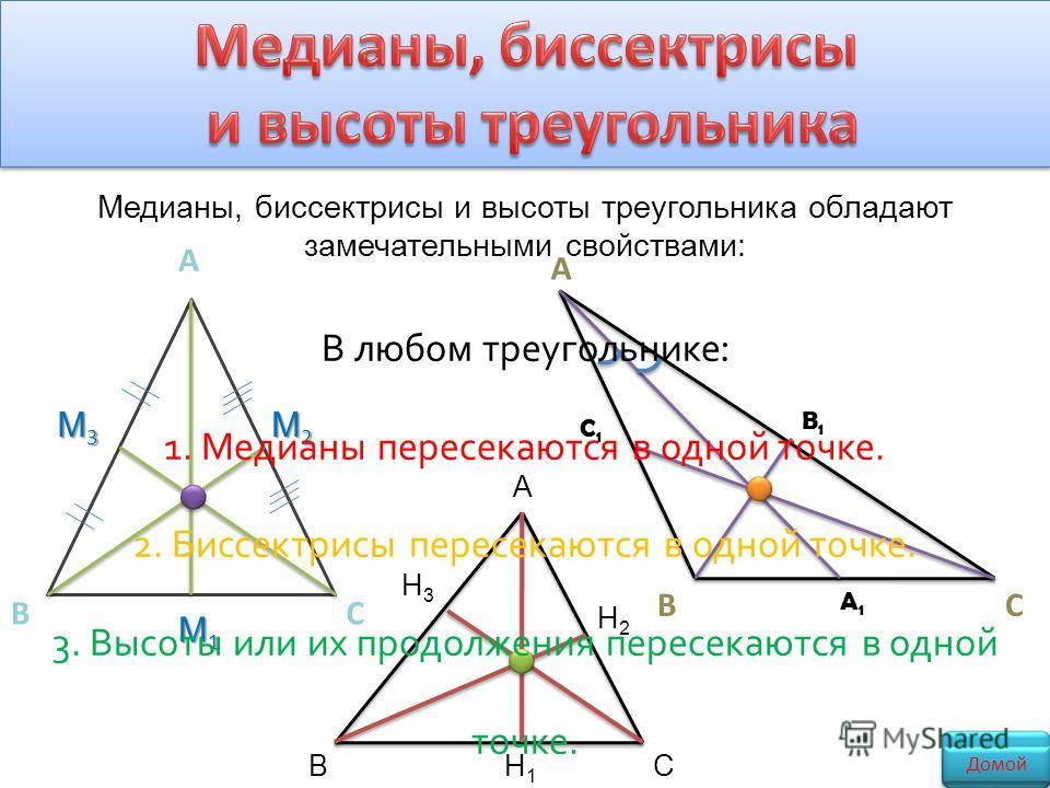 А ВС M1M1M1M1 M2M2M2M2 M3M3M3M3 А ВС B1B1 C1C1 A1A1 CBH1H1 H2H2 H3H3 A В любом треугольнике : 1. Медианы пересекаются в одной точке. 2. Биссектрисы пересекаются в одной точке. 3. Высоты или их продолжения пересекаются в одной точке. Медианы, биссектр