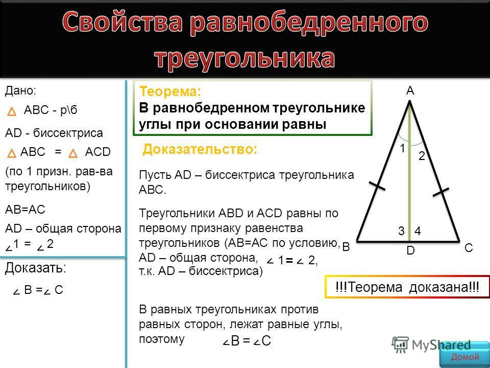 Теорема: В равнобедренном треугольнике углы при основании равны Дано: ABC - р\б AD - биссектриса ABC=ACD (по 1 признак. рав-ва треугольников) AB=AC AD – общая сторона < 1= < 2 Доказать: < В= < С Пусть AD – биссектриса треугольника АВС. Доказательство