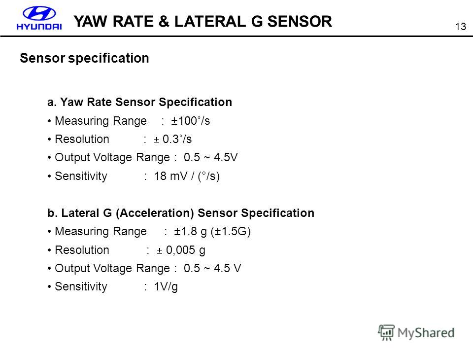 13 Sensor specification a. Yaw Rate Sensor Specification Measuring Range : ±100˚/s Resolution : 0.3˚/s Output Voltage Range : 0.5 ~ 4.5V Sensitivity : 18 mV / (°/s) b. Lateral G (Acceleration) Sensor Specification Measuring Range : ±1.8 g (±1.5G) Res