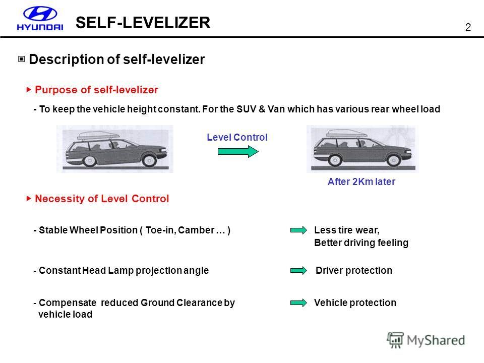 SELF-LEVELIZER 2 Description of self-levelizer Necessity of Level Control Purpose of self-levelizer - To keep the vehicle height constant. For the SUV & Van which has various rear wheel load - Stable Wheel Position ( Toe-in, Camber … ) - Constant Hea