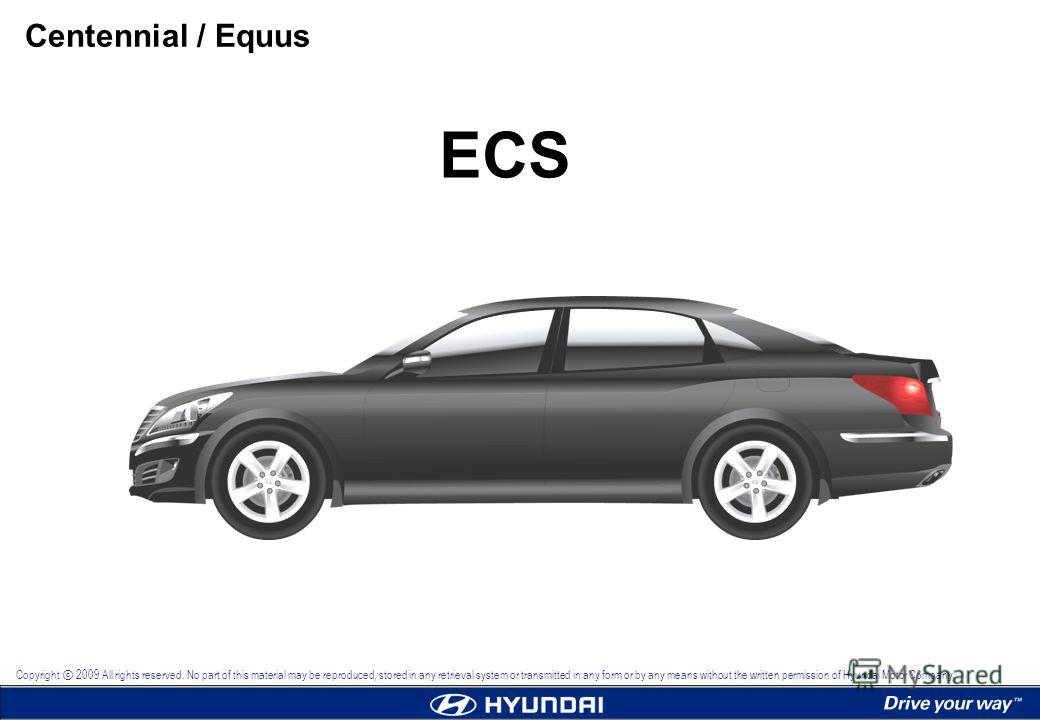 ECS Centennial / Equus Copyright 2009 All rights reserved. No part of this material may be reproduced, stored in any retrieval system or transmitted in any form or by any means without the written permission of Hyundai Motor Company.