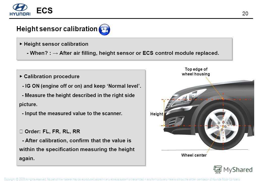 20 ECS Copyright 2009 All rights reserved. No part of this material may be reproduced, stored in any retrieval system or transmitted in any form or by any means without the written permission of Hyundai Motor Company. Height sensor calibration - When