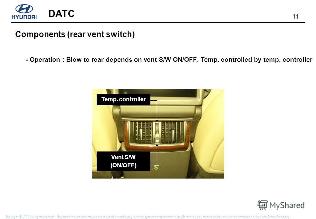 11 DATC Copyright 2009 All rights reserved. No part of this material may be reproduced, stored in any retrieval system or transmitted in any form or by any means without the written permission of Hyundai Motor Company. Vent S/W (ON/OFF) Temp. control