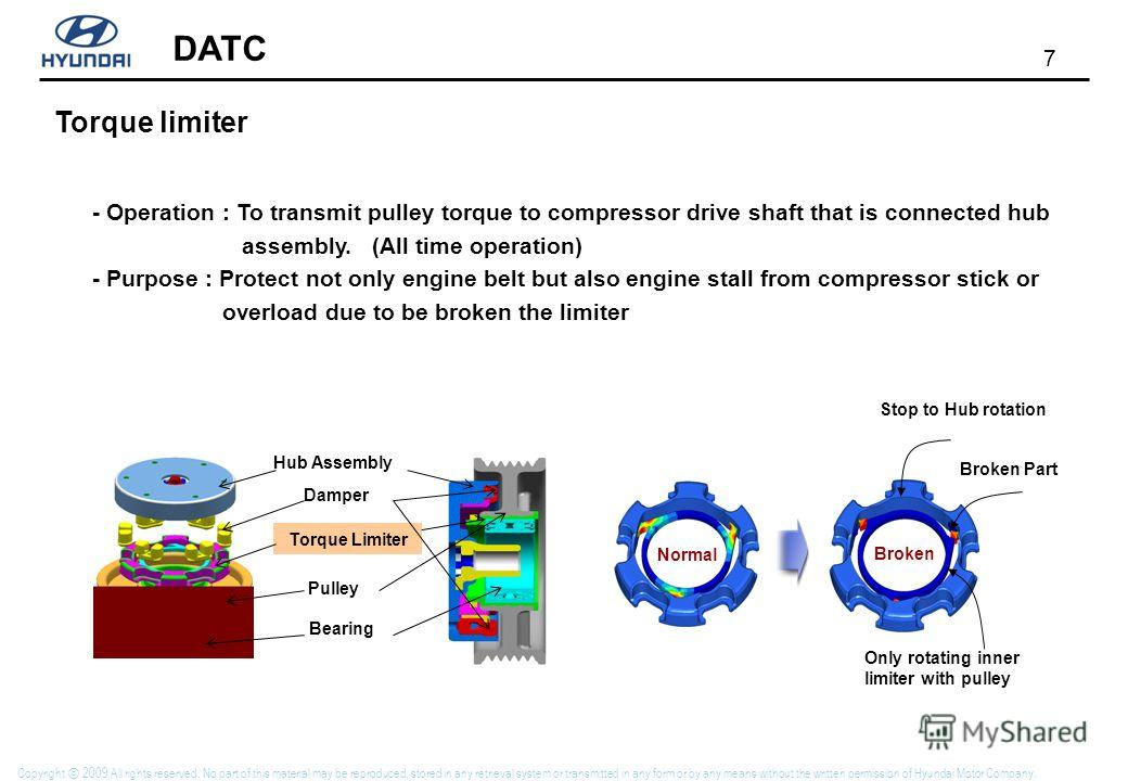 7 DATC Copyright 2009 All rights reserved. No part of this material may be reproduced, stored in any retrieval system or transmitted in any form or by any means without the written permission of Hyundai Motor Company. Torque limiter - Operation : To