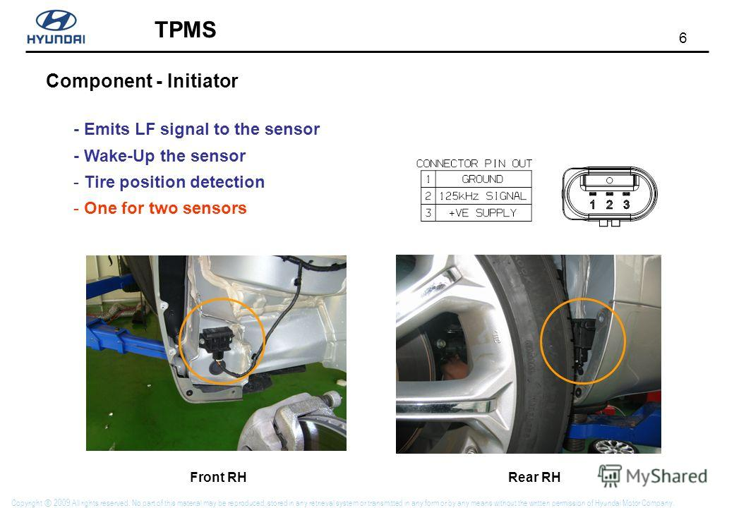 6 TPMS Copyright 2009 All rights reserved. No part of this material may be reproduced, stored in any retrieval system or transmitted in any form or by any means without the written permission of Hyundai Motor Company. Component - Initiator - Emits LF