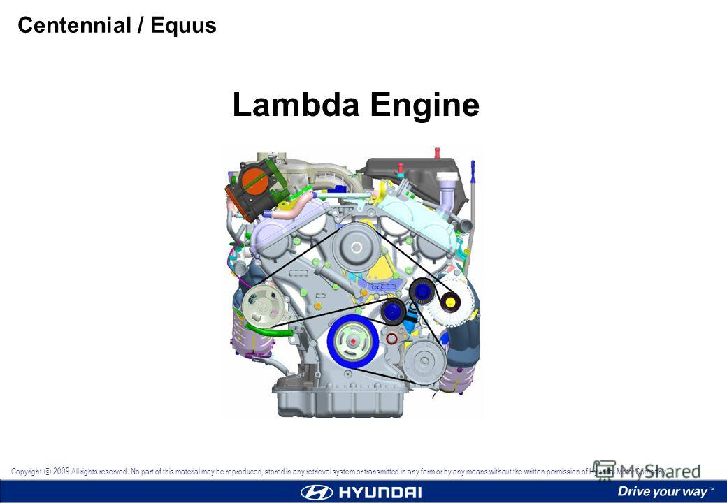 Lambda Engine Centennial / Equus Copyright 2009 All rights reserved. No part of this material may be reproduced, stored in any retrieval system or transmitted in any form or by any means without the written permission of Hyundai Motor Company.