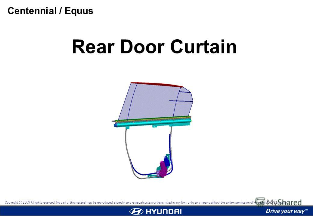1 Rear Door Curtain Copyright 2009 All rights reserved. No part of this material may be reproduced, stored in any retrieval system or transmitted in any form or by any means without the written permission of Hyundai Motor Company. Rear Door Curtain C