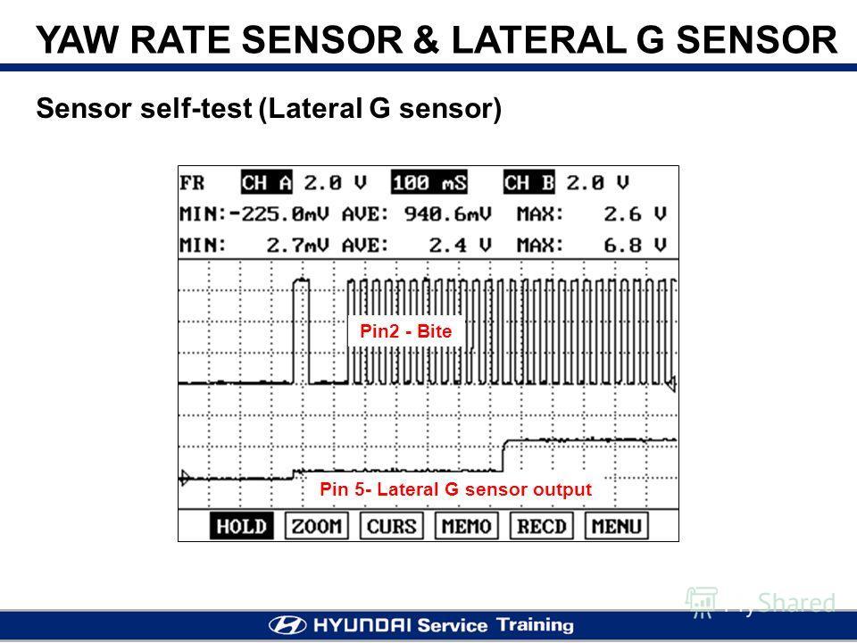 YAW RATE SENSOR & LATERAL G SENSOR Sensor self-test (Lateral G sensor) Pin2 - Bite Pin 5- Lateral G sensor output